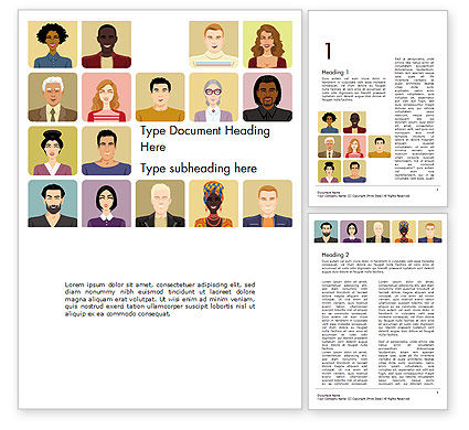 Avatars in Cartoon Style Word Template, 14427, People — PoweredTemplate.com