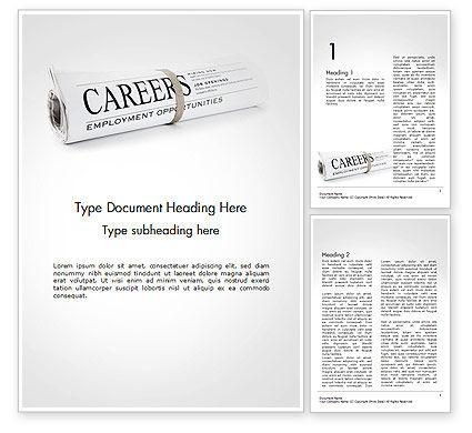 Careers/Industry: Rolled Newspaper with Headline Careers Word Template #14431