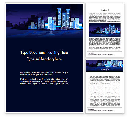 Construction: Night City Light Word Template #14438