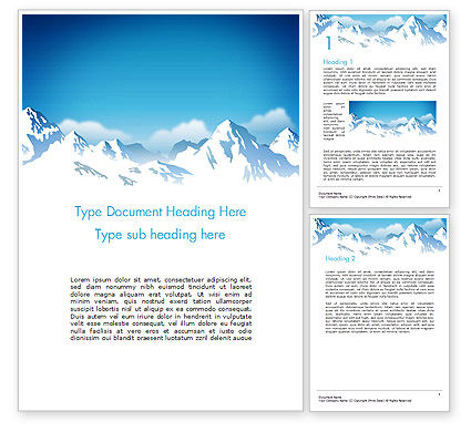 Nature & Environment: Snowy Mountains Word Template #14444