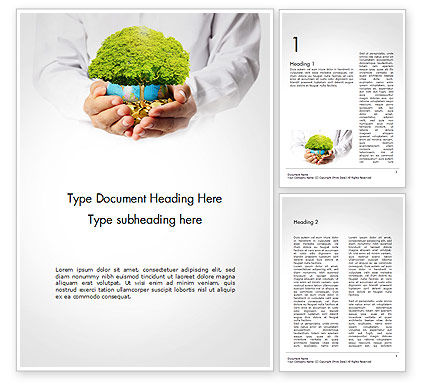 Financial/Accounting: Man Hands Holding Money Tree Word Template #14447