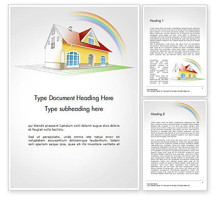 House From Sketch to Colorful Reality Word Template, 14455, Construction — PoweredTemplate.com
