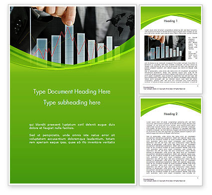Businessman Hand Pulling Upwards Column of Graph Word Template, 14463, Financial/Accounting — PoweredTemplate.com