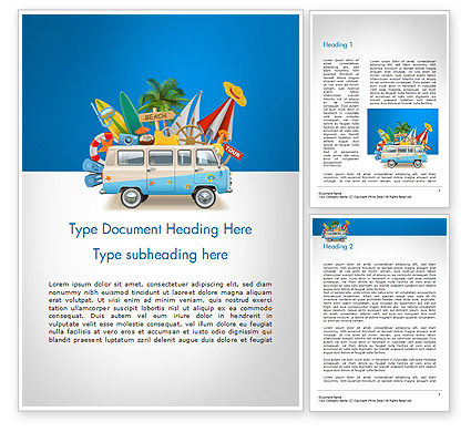 Careers/Industry: Bus Going to a Beach Word Template #14464