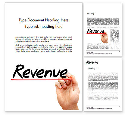 Financial/Accounting: Hand Writing Revenue with Marker Word Template #14465