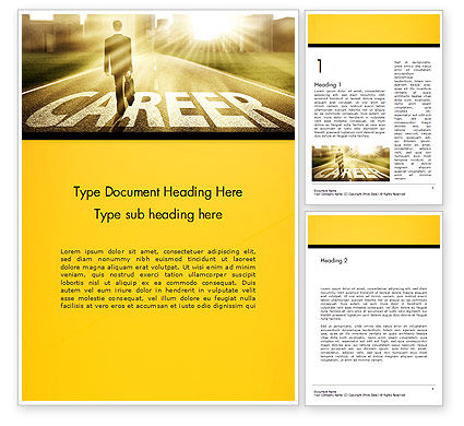 Businessman Walking on Great Career Path Word Template, 14475, Careers/Industry — PoweredTemplate.com