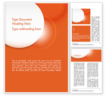 Abstract/Textures: White Circle on Orange Background Word Template #14489