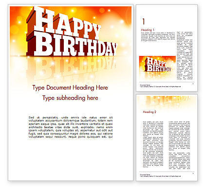 3D Happy Birthday Text Word Template, 14500, Holiday/Special Occasion — PoweredTemplate.com
