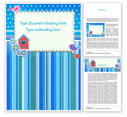 Holiday/Special Occasion: Baby Photo Frame With Flowers and Birds Word Template #14501