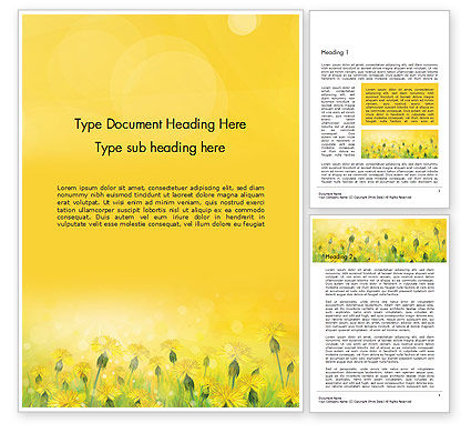 Dandelions Flowers on Sunshine Word Template, 14503, Nature & Environment — PoweredTemplate.com