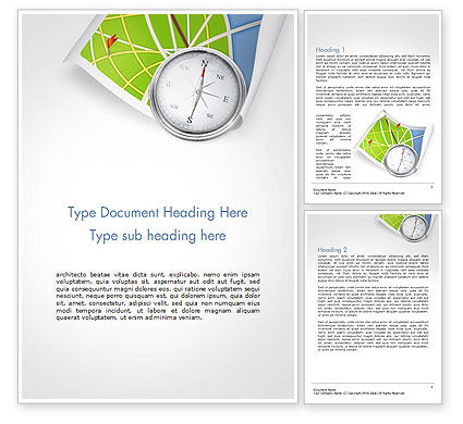 Business Concepts: Compass and Road Map Word Template #14505