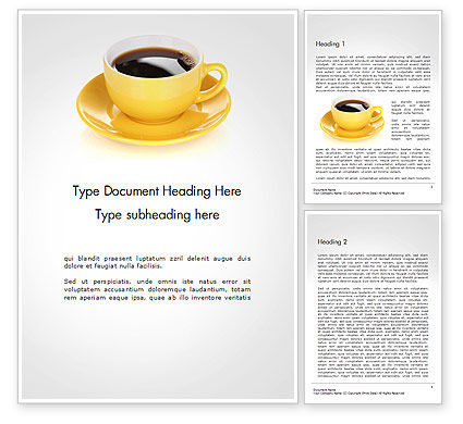 Food & Beverage: Yellow Cup and Saucer Word Template #14507