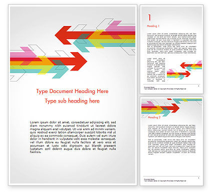 Colorful Arrows Pointing into Opposite Directions Word Template