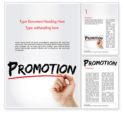 Business Concepts: Hand Writing Promotion with Marker Word Template #14531