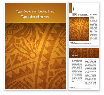 Art & Entertainment: Brown Ethnic Ornament Word Template #14540