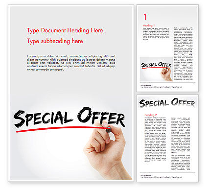 A Hand Writing 'Special Offer' with Marker Word Template
