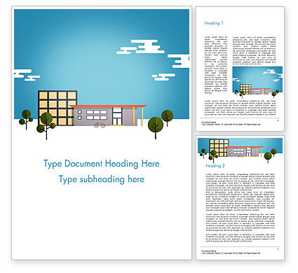 Nature & Environment: Street with Houses Illustration in Flat Style Word Template #14552
