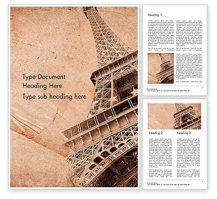 Art & Entertainment: Eiffeltoren Vintage Postkaart Stijl Word Template #14556