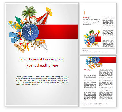 Summer Vacation Accessories Word Template, 14563, Holiday/Special Occasion — PoweredTemplate.com