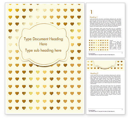 Holiday/Special Occasion: Metal Heart Confetti Pattern Word Template #14564