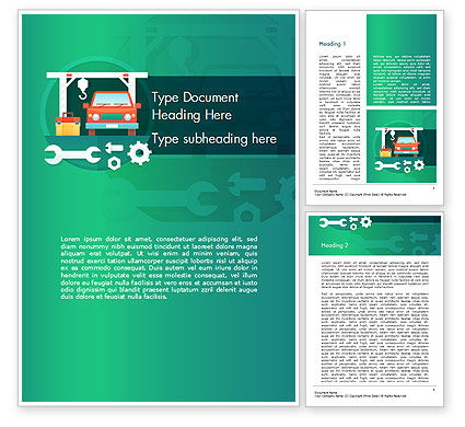 Cars/Transportation: Car Repair Service Word Template #14566