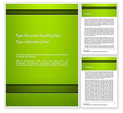 Horizontal Green Background with Lines Word Template