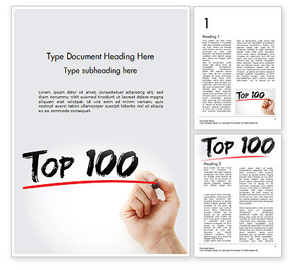 Business Concepts: A Hand Writing 'Top 100' with Marker Word Template #14601