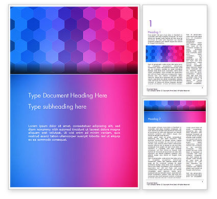Gradient Background with Hexagon Pattern Word Template