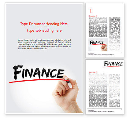 Financial/Accounting: A Hand Writing 'Finance' with Marker Word Template #14610