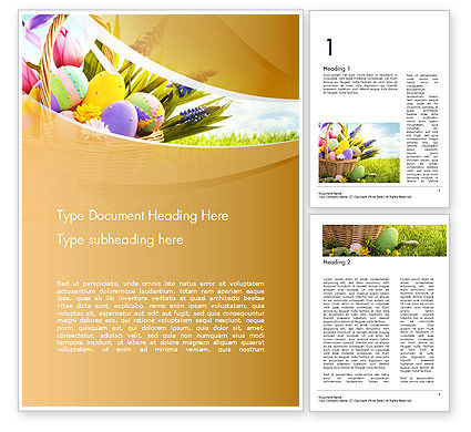 Basket with Easter Eggs Word Template