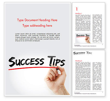 Education & Training: A Hand Writing 'Success Tips' with Marker Word Template #14619