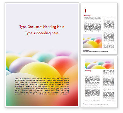 Colorful Easter Eggs Word Template, 14620, Holiday/Special Occasion — PoweredTemplate.com