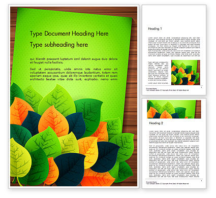 Rainbow Leaves Word Template, 14623, Nature & Environment — PoweredTemplate.com