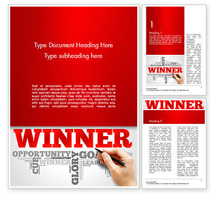 Winner Word Cloud Word Template, 14633, Business Concepts — PoweredTemplate.com