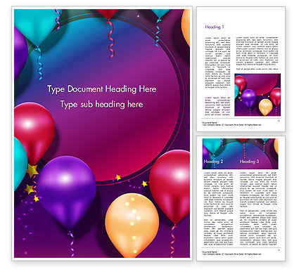 Holiday/Special Occasion: Colorful Balloon Party Word Template #14635