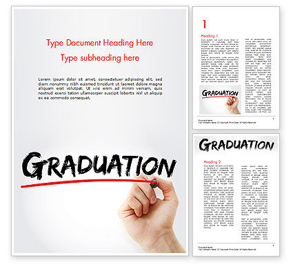 Education & Training: A Hand Writing 'Graduation' with Marker Word Template #14636