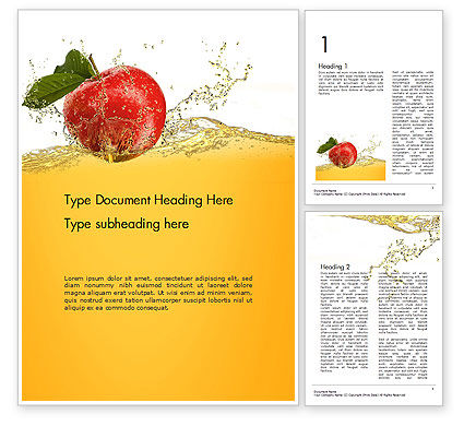 Apple With Juice Splash Word Template, 14644, Food & Beverage — PoweredTemplate.com