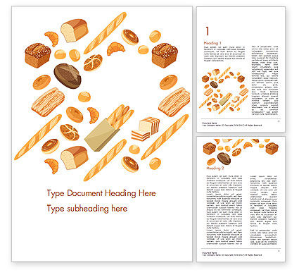 Bread Background Word Template, 14663, Food & Beverage — PoweredTemplate.com