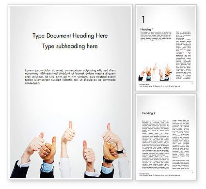 Thumbs Up Word Template, 14666, People — PoweredTemplate.com