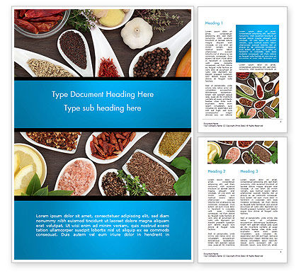 Culinary Spices and Herbs Word Template, 14668, Food & Beverage — PoweredTemplate.com