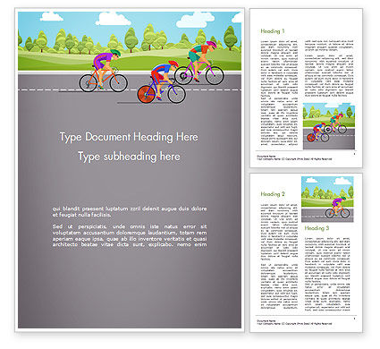 Bicycle Race Illustration Word Template, 14675, Sports — PoweredTemplate.com