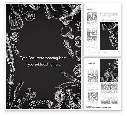 Food Doodles on Chalkboard Word Template, 14676, Food & Beverage — PoweredTemplate.com