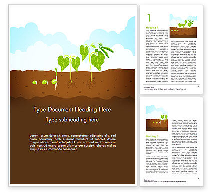 Agriculture and Animals: Peas Plant Growth Illustration Word Template #14680