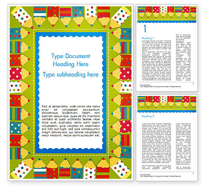 Frame of Colorful Funny Pencils Word Template, 14694, Education & Training — PoweredTemplate.com