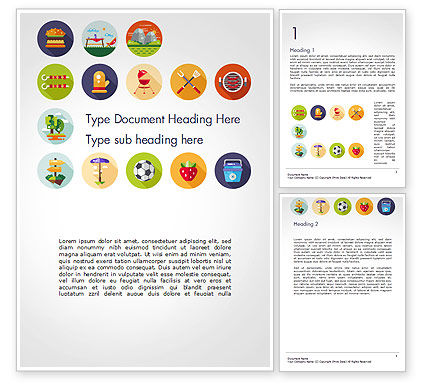 Barbecue and Picnic Icons Word Template, 14697, Sports — PoweredTemplate.com