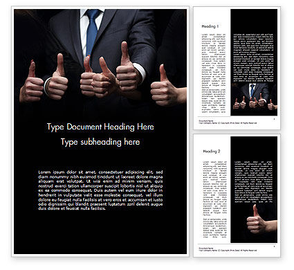 Thumbs Up Word Template, 14701, Business Concepts — PoweredTemplate.com
