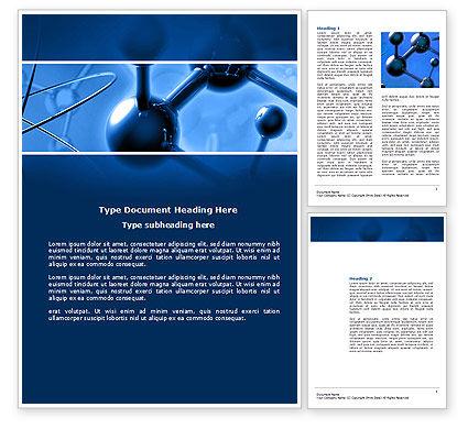 3D: Moleculaire Rooster In Donkerblauwe Kleuren Word Template #14712