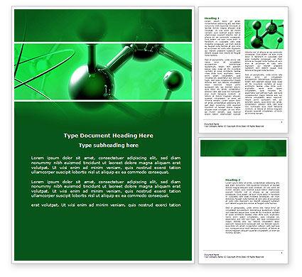 3D: 暗緑色の分子格子 - Wordテンプレート #14713