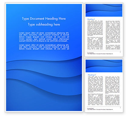 Abstract/Textures: Simple Blue Waves Word Template #14717