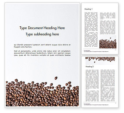 Food & Beverage: Scattered Coffee Beans Background Word Template #14718